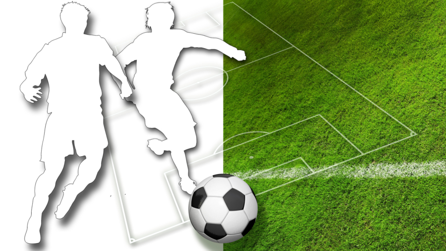 Silhouette of two soccer players, a ball in black and white and parts of a football pitch